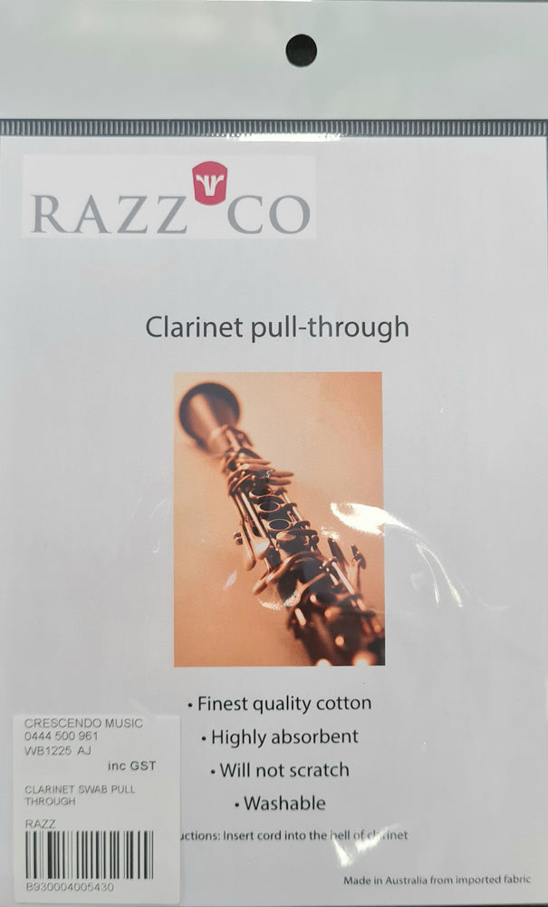 Clarinet Pull Through Swab Pure Cotton by Razz