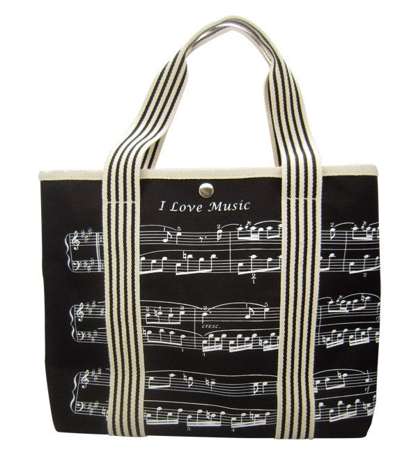 Canvas Music Bag with Treble Clef and Sheet Music Design