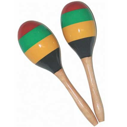 Wooden Maracas with Coloured Stripes by