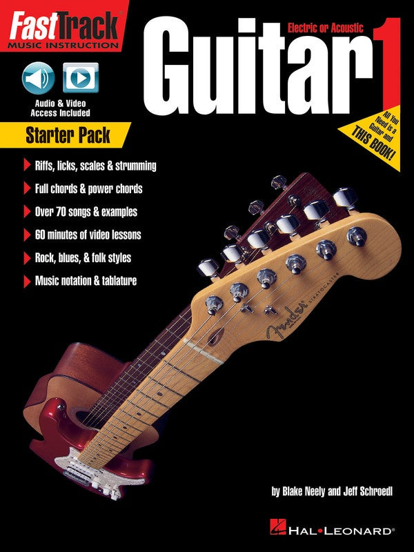 FastTrack Guitar Starter Pack Method Book 1 with Audio & Video Online