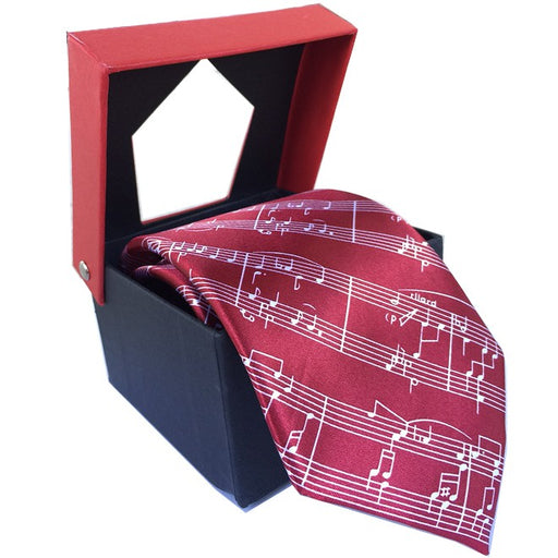 Tie with Sheet Music Design Maroon