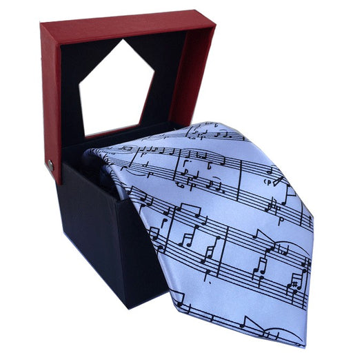 Tie with Sheet Music Design White