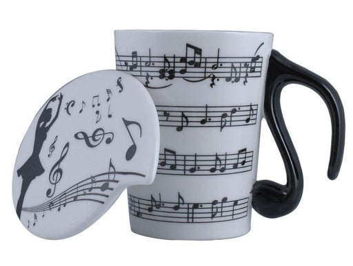 Tall Music Mug w Lid Sheet Music