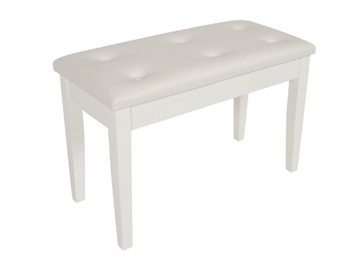 Piano Stool White Wooden Bench W/Buttoned Vinyl