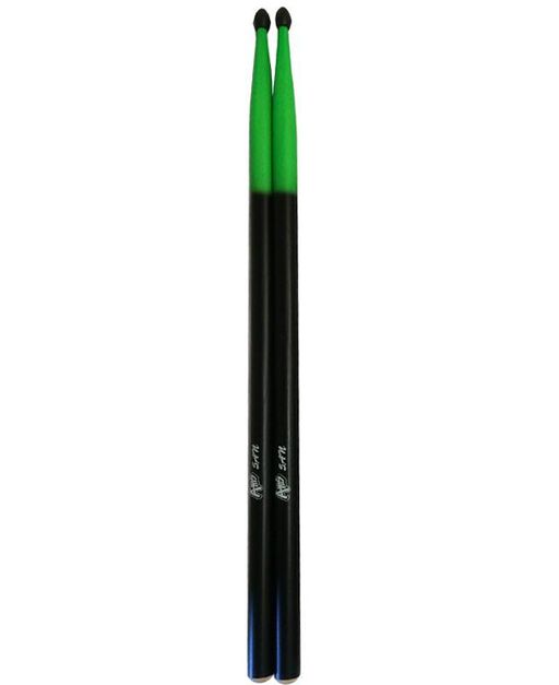 5A Drumsticks with Nylon Tip Black and Green
