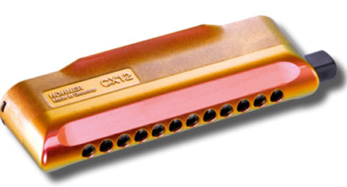 Hohner CX12 Jazz Chromatic Harmonica Red to Gold Finish in the Key of C