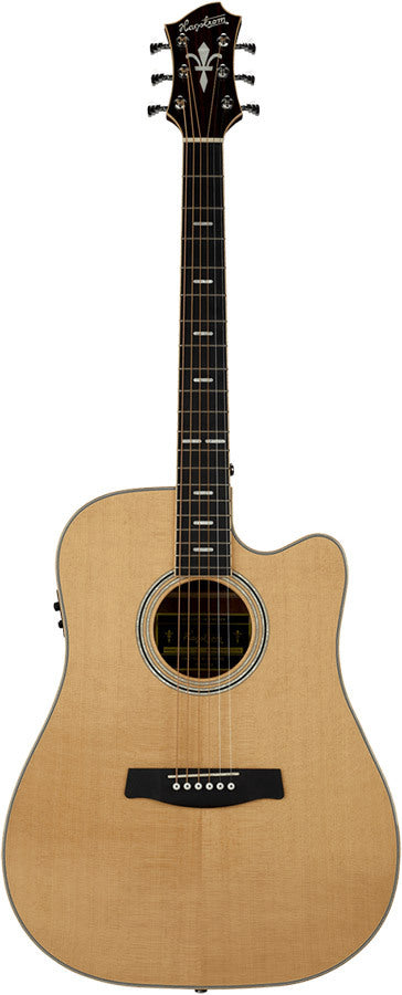 Hagstrom Orsa Series Dreadnought AC/EL Guitar with Cutaway in Natural