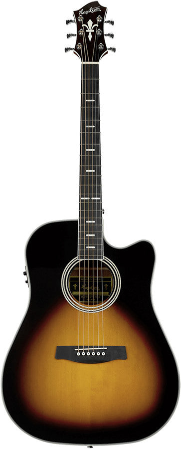 Hagstrom Siljan II Series Dreadnought AC/EL Guitar with Cutaway in Tobacco Sunburst