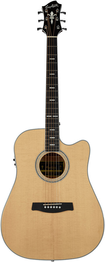 Hagstrom Siljan II Series Dreadnought AC/EL Guitar with Cutaway in Natural