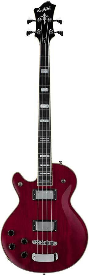 Hagstrom Left Hand Swede Bass Guitar in Wild Cherry Transparent Gloss