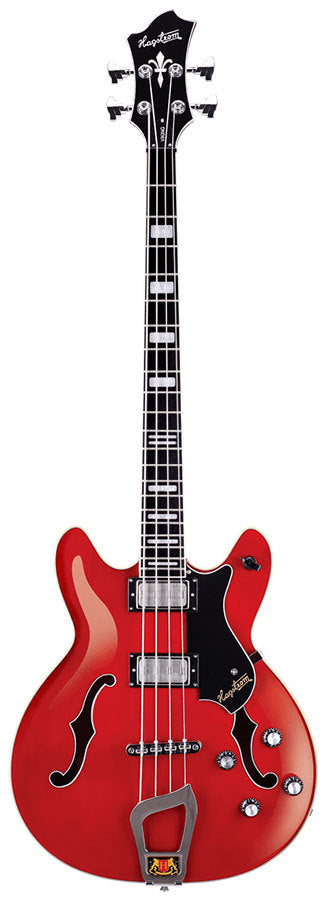 Hagstrom Viking Semi-Hollow Bass Guitar in Wild Cherry Transparent Gloss