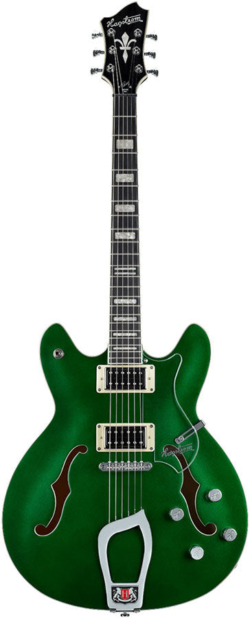 Hagstrom Viking Deluxe Custom Limited Semi-Hollow Guitar in Metallic Emerald Green