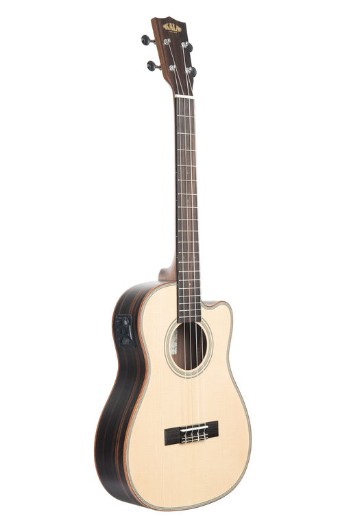 Kala Baritone Ukulele Solid Spruce Top Striped Ebony Cutaway with EQ