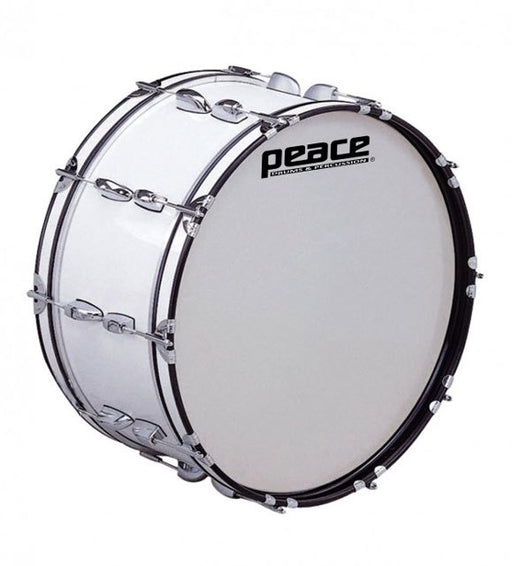 "Peace 20-Lug Marching Bass Drum in White (26 x 10"")"