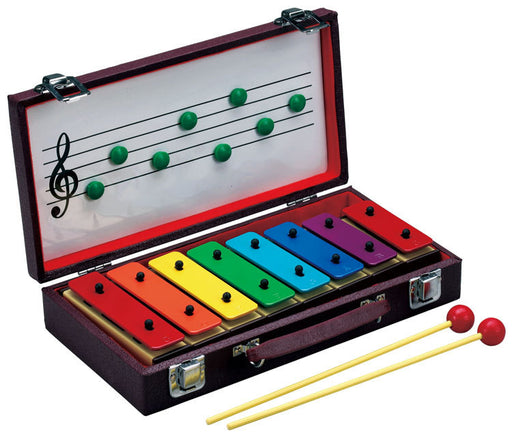 Opus Percussion 8-Note Resonator Bell Set in Wooden Case with Beaters & Magnetic Music Board
