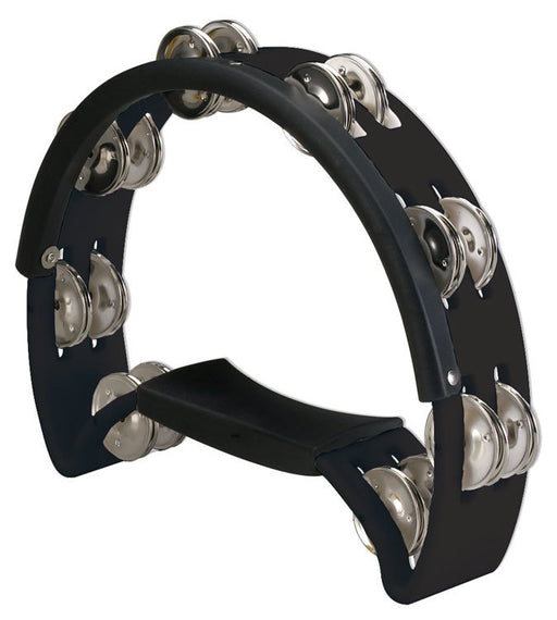Opus Percussion Power Tambourine with Double-Row Jingles & Striking Edge in Black