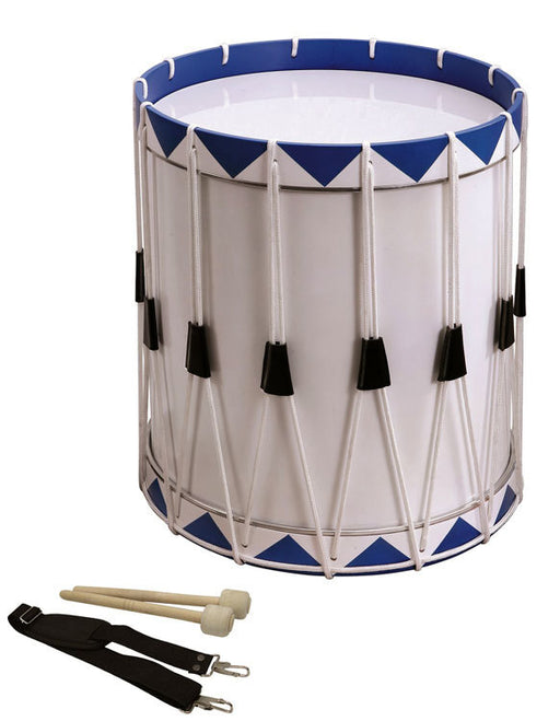 Opus Percussion Samba Drum in White & Blue with Carry Strap & Beaters (40cm x 49cm)
