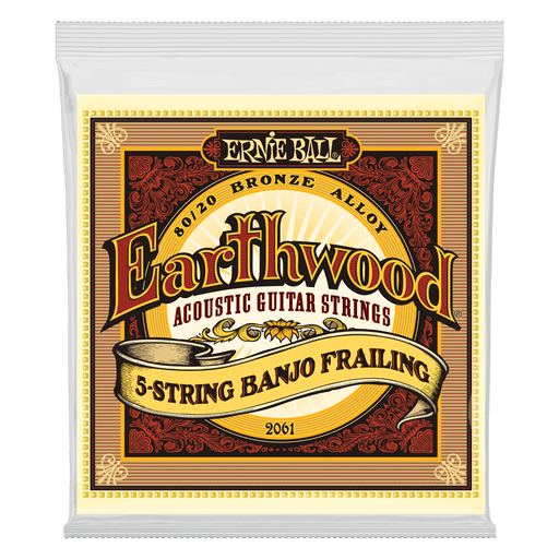 Ernie Ball Earthwood 5-String Banjo Frailing Loop End 80/20 Bronze Acoustic Guitar Strings - 10-24