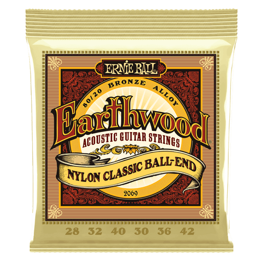 Ernie Ball Earthwood Folk Nylon, Clear & Gold Ball End, 80/20 Bronze Acoustic Guitar Strings - 28-42