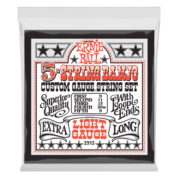 Ernie Ball Light 5-String Loop End Stainless Steel Banjo Guitar Strings - 9-9
