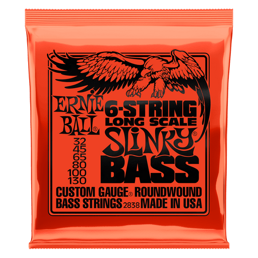 Ernie Ball Slinky Long Scale 6-String Nickel Wound Electric Bass Strings - 32-130