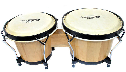 "Percussion Plus 6 & 6-3/4"" Wooden Bongos in Gloss Lacquer Finish in Bongo Bag"