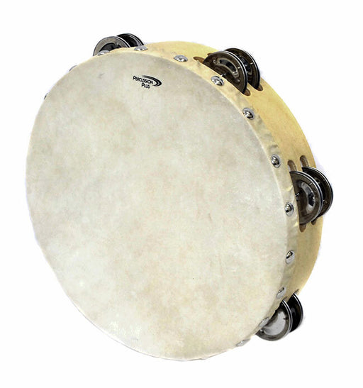 Percussion Plus Wooden Tambourine with Head & 6-Double Rows of Jingles (2 Sizes)