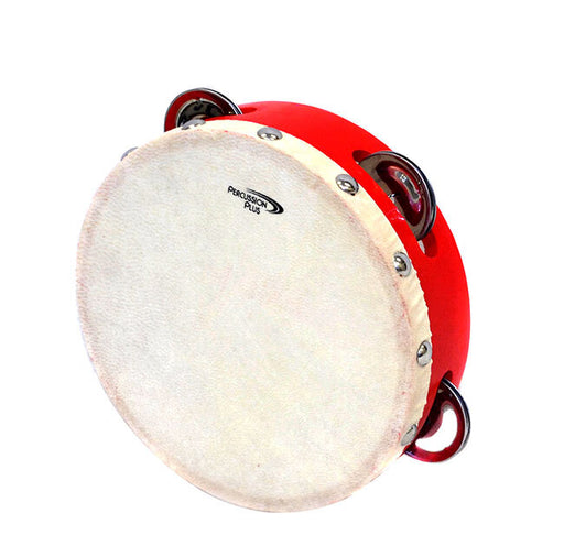 "Percussion Plus 6"" Wooden Tambourine with Head & 4-Single Rows of Jingles"