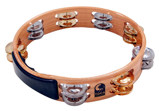 "Toca Acacia Hardwood 10"" Tambourine with Brass & Nickel Jingles"
