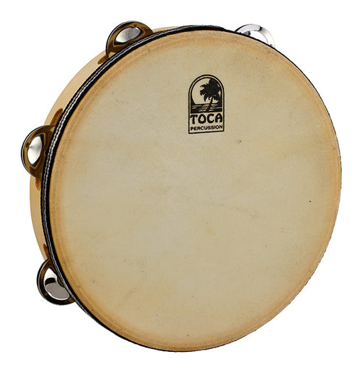 "Toca Players Series Wooden 9"" Tambourine with Head & Double Row Of Jingles"