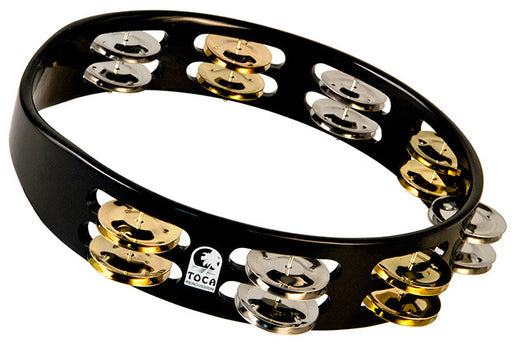 "Toca Colorsound Acacia Hardwood 10"" Tambourine in Black with Brass & Nickel Jingles"