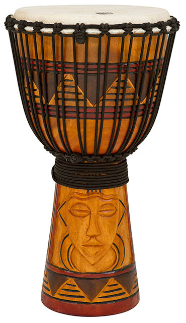 Toca Origins Series Wooden Djembe 12 Inch Tribal Mask