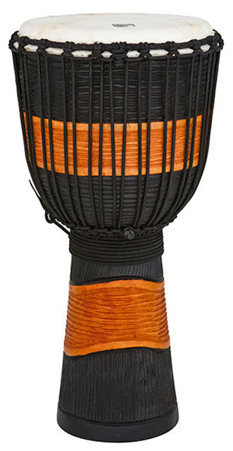 Toca Street Carved Series Wooden Djembe 10 Inch Black & Brown
