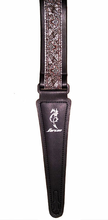 Vorson Black Leather Guitar Strap with Special Design 11 Fabric Inlay