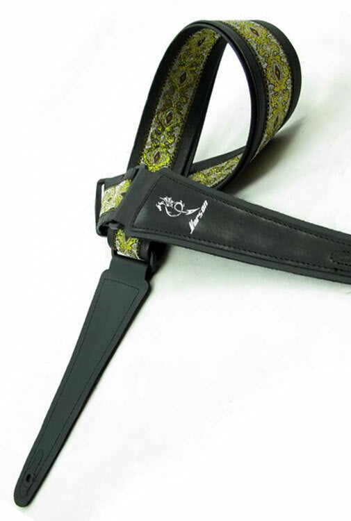 Vorson Black Leather Guitar Strap with Special Design 2 Fabric Inlay