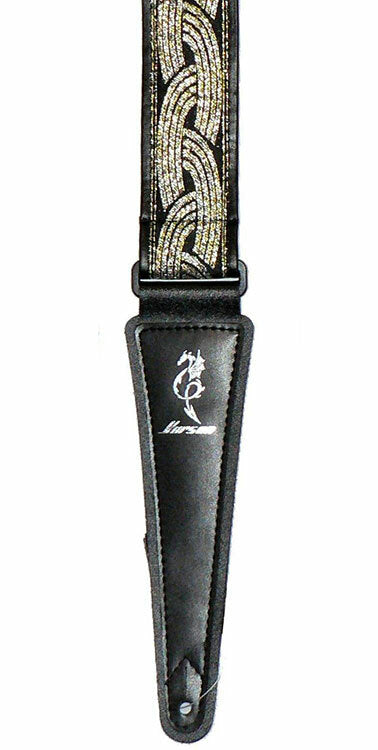 Vorson Black Leather Guitar Strap with Special Design 3 Fabric Inlay