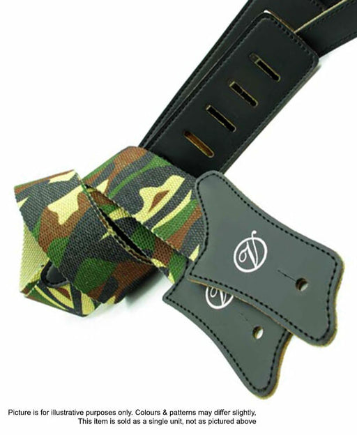 Vorson Camoflauge Fabric Guitar Strap with Black Leather Ends