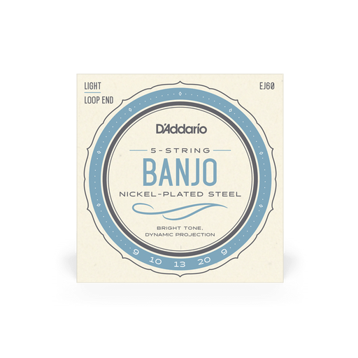 Banjo 5 String Set D'Addario EJ60 Nickel Plated Regular Light 09 - 20