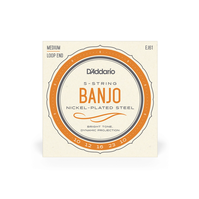 Banjo 5 String Set D'Addario EJ61 Nickel Plated Medium 10 - 23