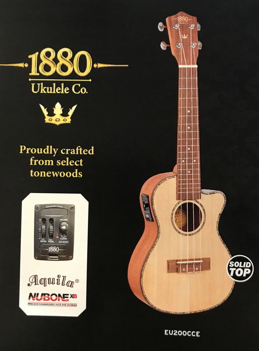 1880 Ukulele Co. 200 Series Tenor EL/AC