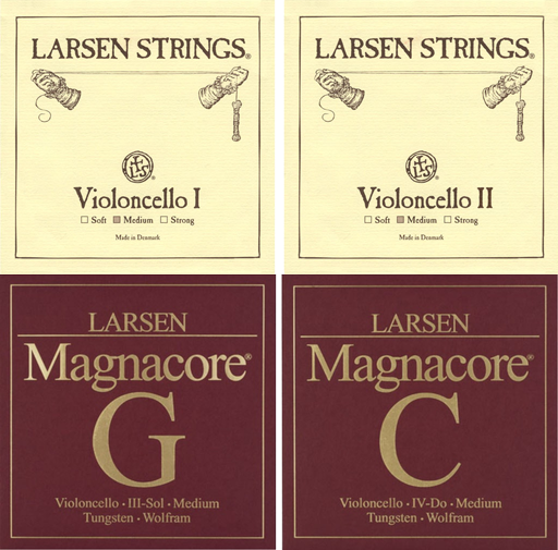 Larsen Cello String Medium A and D with Magnacore G and C 4/4 Set
