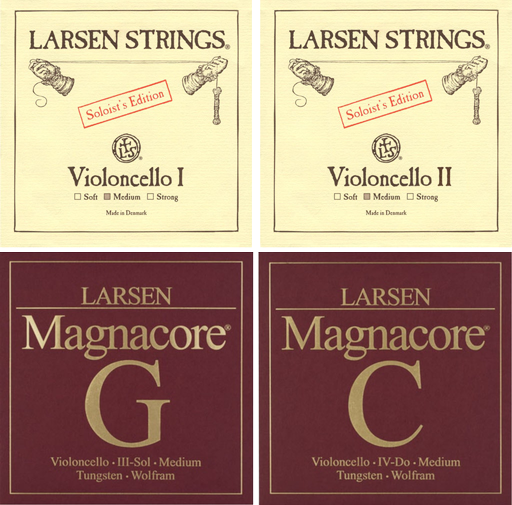 Larsen Cello String Medium A and D with Magnacore G and C 4/4 Set (SOLO)