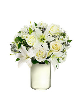 MIX OF SOFT WHITE LILY ROSE