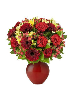 RED ROSES WITH BOLD ACCENT BLOOMS