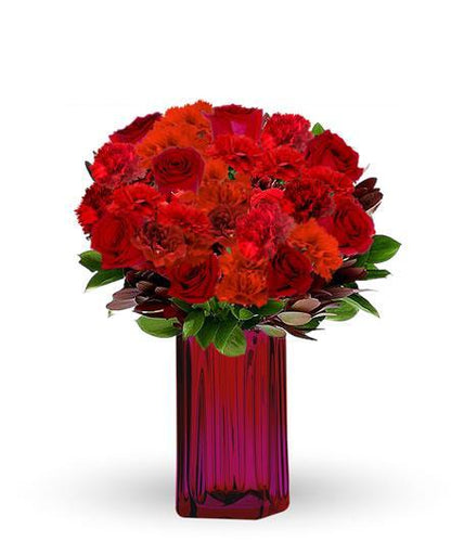 RED ROSES WITH EARTH TONED BLOOMS