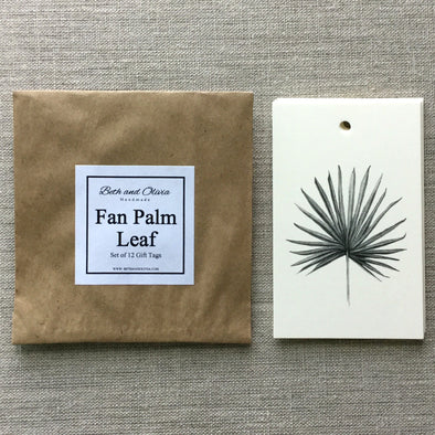 Set of 12 Fan Palm Leaf Gift Tags