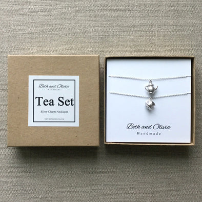 Silver Tea Set Charm Necklaces