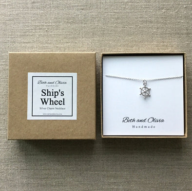 Silver Ship's Wheel Necklace