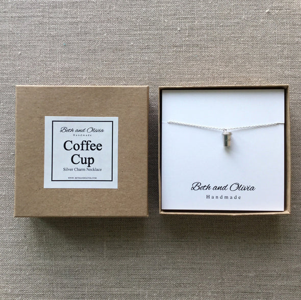 Silver Coffee Cup Necklace