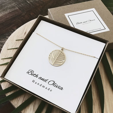 Gold Palm Leaf Necklace